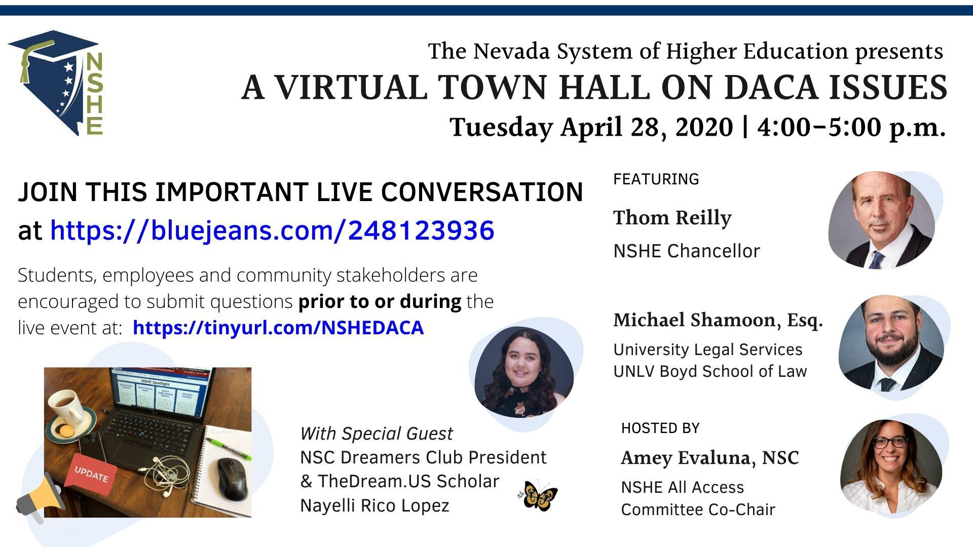 Volante digital de la reunión del ayuntamiento virtual del evento DACA.