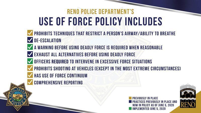 Gráfica con lista de la actual y nueva política sobre el uso de fuerza por la policía de Reno