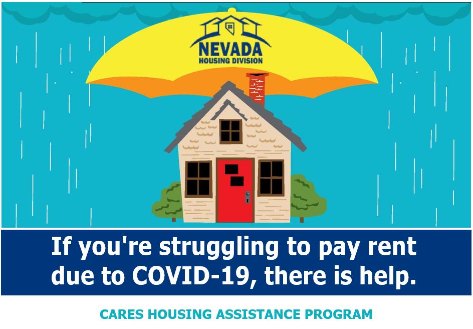 Gráfica con una casa y mensaje sobre la ayuda del estado para la vivienda durante COVID-19
