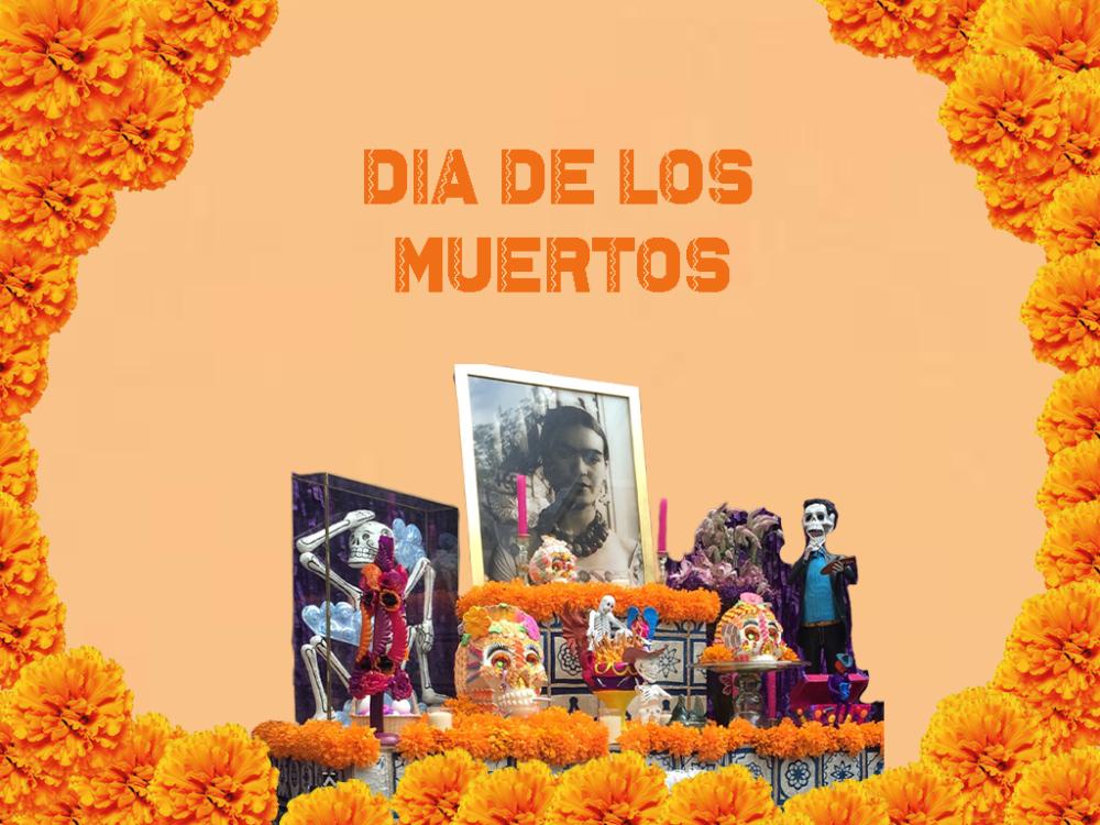imagen con altar para el dia de los muertos con foto de Frida Kahlo
