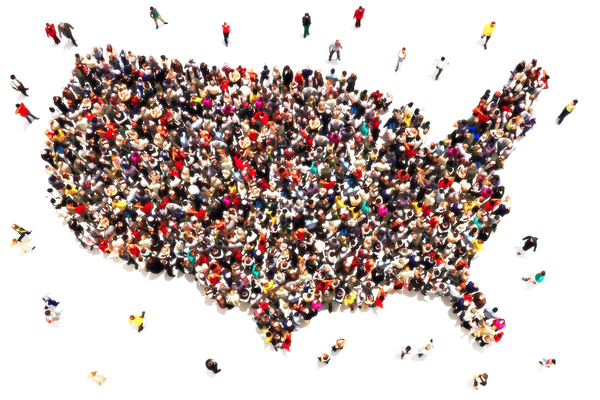 Gráfica del país de EE.UU. rellena de personas diversas