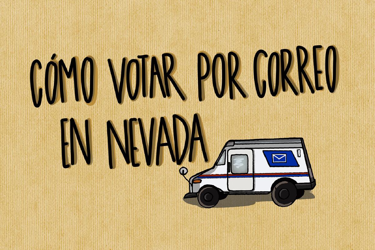 """Ilustración con frase """"cómo votar por correo en Nevada"""""""