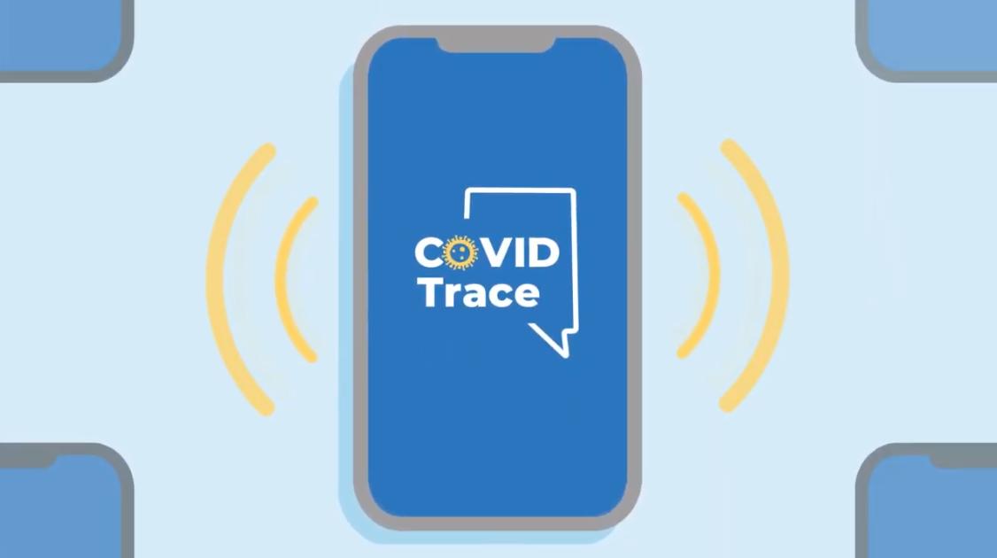 Ilustración de un celular con palabras COVID Trace en la pantalla