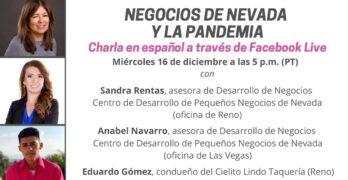 """Una gráfica que dice """"Negocios de Nevada y la pandemia"""" con las fotos y títulos de los invitados a la charla virtual."""