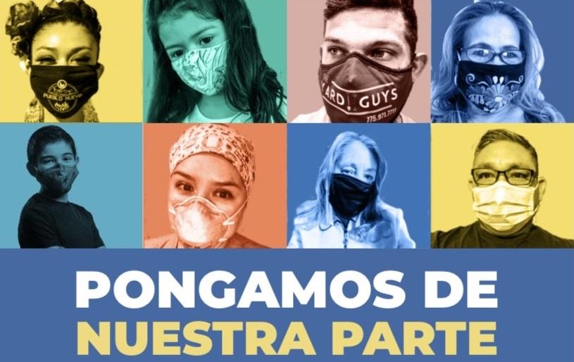 """Cartel con fotos de latinos con máscaras. Al final dice, """"Pongamos de Nuestra Parte""""."""