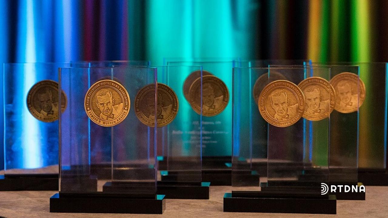Varios premios de vidrio con medallón de bronze