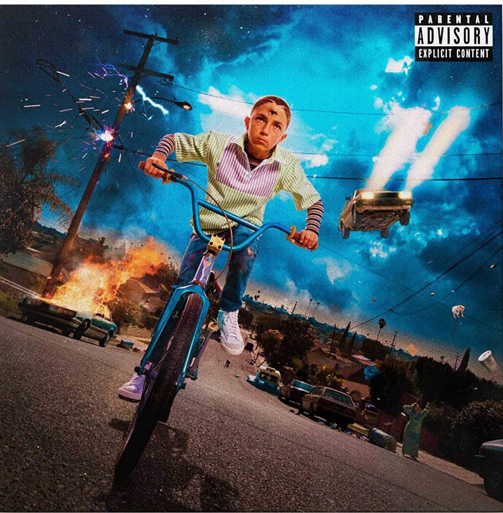portada de album con niño montado en bicicleta