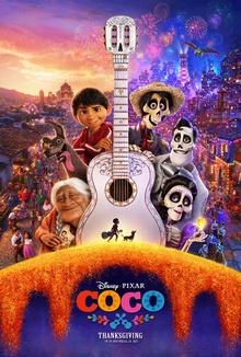 personajes animados, una guitarra blanca y figuras del Día de los Muertos
